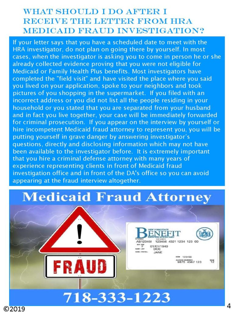 What should I do after I receive the letter from HRA medicaid fraud investigation?